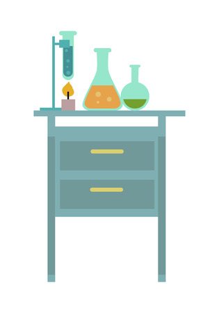 boiling tube: Chemical laboratory. Workplace. Lab glassware kit on table, chemical tools. Table with chemical reagents. Lab worker table chemical research process. Isolated vector illustration on white background.