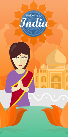 buddism: Welcome to India banner. Indian woman opposite the temple. Indian girl with crossed hands in colorful robe. Lady from India in national yoga standing behind abstract lotus flowers. Vector illustration Illustration