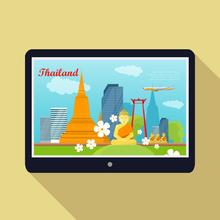 thai architecture: Thailand travelling banner on tablet screen. Landscape with Thai landmarks. Skyscrapers and private buildings. Nature and architecture. Part of series of travelling around world. Vector illustration Illustration