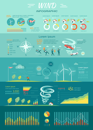 Wind infographic. Tornado and hurricane set with natural disaster symbols. Wind energy propellers. Power supply cycle. Windmills as sources of renewable energy. Wind strength charts. Vector