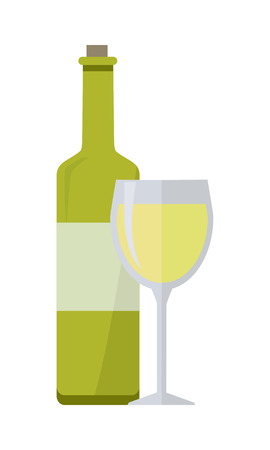 elite: Bottle of white wine and glass isolated on white. Check elite vintage light wine. Winemaking concept. Vine icon or symbol. Part of series of viniculture production and preparation items. Vector