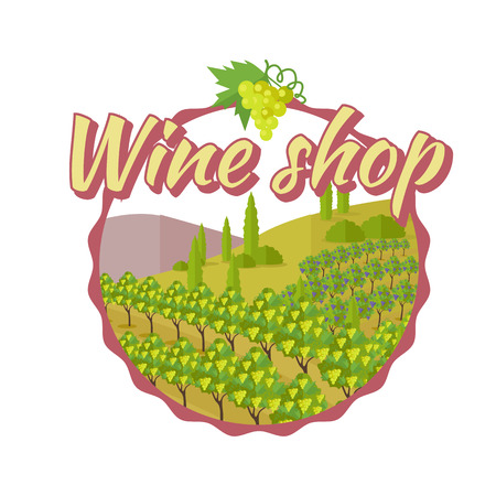 viniculture: Wine shop poster. For labels, tags, tallies, posters, banners of check elite vintage wines. Logo icon symbol. Winemaking concept. Part of series of viniculture production and preparation items. Vector