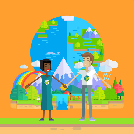activist: Smiling man and woman holding hands on planet Earth and nature background. Ecologist, environmentalist, nature protection activist or volunteer illustration. Flat design. International earth day.