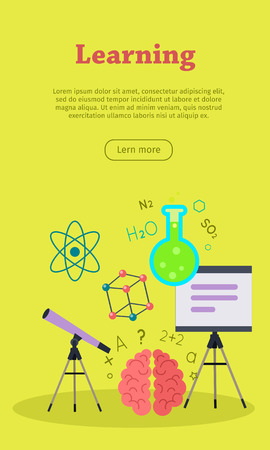 lab test: Learning banner with presentation whiteboard, telescope and brain. Learning infographic concept background. Scientific research, science lab, science test, technology illustration. Website template. Illustration