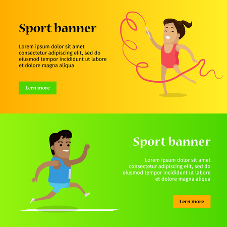 Sport banner. Artistic gymnastics and athletics sport template. Summer games colorful banner. Competitions, achievements. Athletes perform to show best results and win a trophy. Vector illustration Illustration