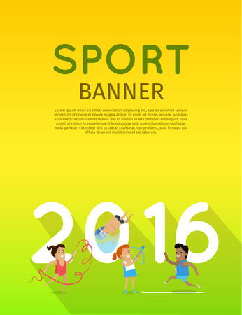 surf team: Sport banner. Artistic gymnastics athletics diving and archery template. Summer games colorful banner. Competitions, achievements, best results. Flyer, template, poster 2016. Vector illustration Illustration