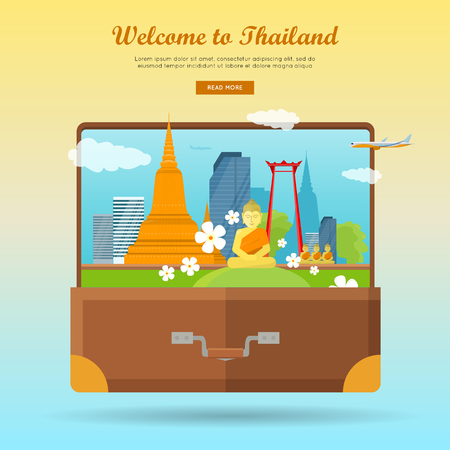asia style: Welcome to Thailand concept web banner. Flat style vector. Vacation in Asia. Suitcase with city landscape, Buddhist architecture and monuments. For travel company landing page, corporate site design
