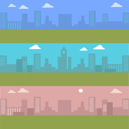 Set of urban cityscape with blue sky and white clouds. Silhouettes of buildings. Office buildings, building scenery, clock tower, urban landscape, urban background, city panorama vector illustration Illustration