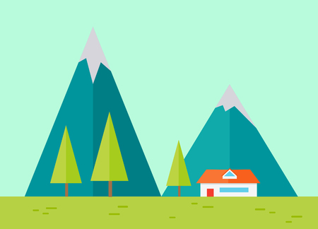panoramic nature: Vector illustration of mountain ridge. View of blue mountains with house. Mountains landscape, abstract blue panoramic view. Nature background. Isolated vector illustration.