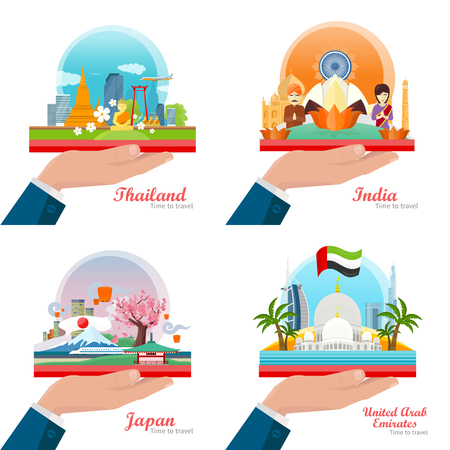 outstretched hand: Time to Travel. Welcome to Japan, Thailand, India, United Arab Emirates. Set of traveling advertisement banners on the outstretched hand. Landmarks of the well known asian places of interest. Vector