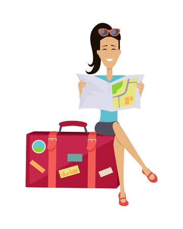 baggage: Summer vacation concept. Traveling with baggage illustration. Flat style design. Smiling brunette woman seating on suitcase and looking in road map. Isolated on white background. Illustration