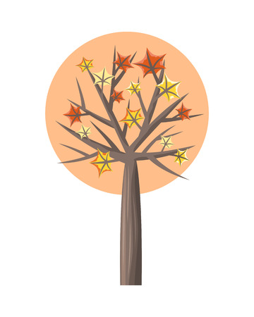 forest wood: Maple tree with falling leaves round icon. Tree forest, leaf tree isolated, tree branch, plant eco branch tree, organic natural wood illustration. Falling autumn leaves. Maple icon. Illustration