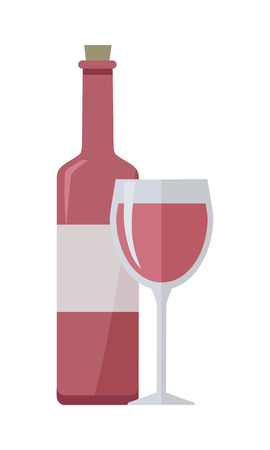 Bottle of rose wine and glass isolated on white. Check elite vintage light wine. Winemaking concept. Vine icon or symbol. Part of series of viniculture production and preparation items. Vector