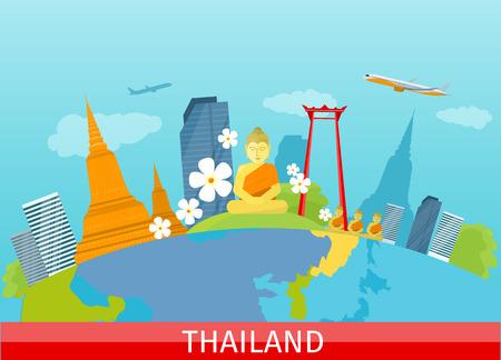 タイ旅行のバナーです。伝統的なタイのランドマークのある風景します。高層ビルや民間建築物。自然と建築。世界中の旅行のシリーズの一部。ベ  イラスト・ベクター素材