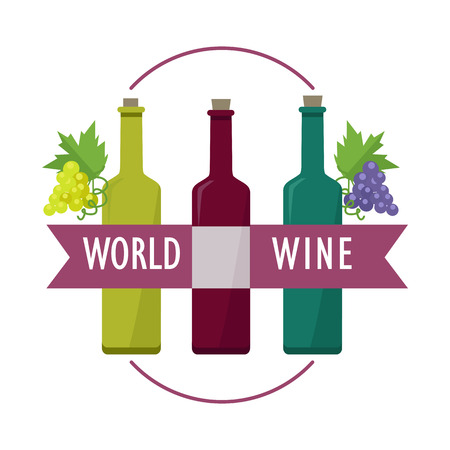 winemaking: World Wines set. Collection of check elite vintage wines. For labels, tags, tallies, posters, banners. Winemaking concept. Part of series of viniculture production and preparation items. Vector Illustration