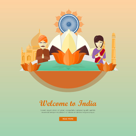asia style: Welcome to India conceptual web banner. Flat style vector. Vacation in Asia. Lotus ornament, indian architecture and peoples illustrations. For travel company landing page, corporate site design Illustration