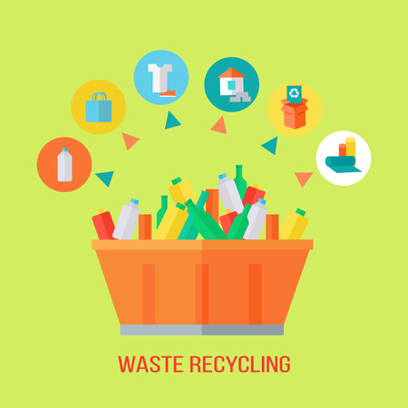 Waste recycling process. Rubbish bin with different trash. Sorting waste as paper, glass, plastic, cloth, rubber. Environmental protection. Garbage destroying. Flat style design. Vector illustration Illustration