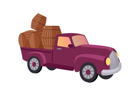 Track carries baskets with grape for wine production. Vineyard plantation of grape-bearing vines, grown for winemaking, raisins, table grapes and non-alcoholic juice. Vinegrove green valley. Vector Illustration