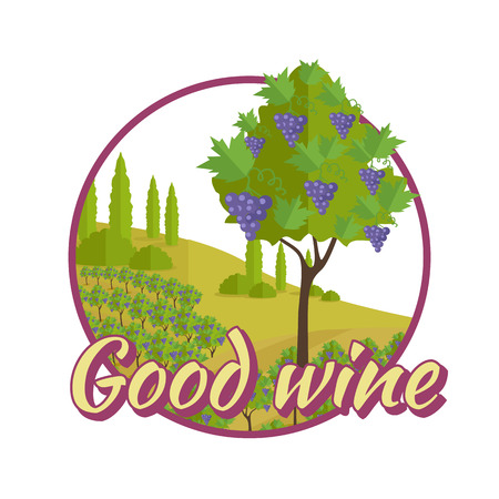 an elite: Good wine poster. For labels, tags, tallies, posters, banners of check elite vintage wines. Logo icon symbol. Winemaking concept. Part of series of viniculture production and preparation items. Vector