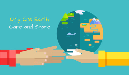 Only one Earth, care and share vector concept. Flat design. Human hands holding and give planet as gift  illustration for environment protection, earth day banners, web pages and icon design.