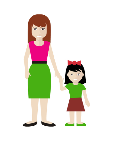 parenting: Mother and daughter vector in flat design. Smiling woman with little, cute girl holding hands. Childhood, family relations, motherhood and parenting illustrating. Isolated on white background.