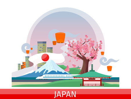 mount fuji: Japan vector concept. Vacation journey in Asia. Illustration with planet surface, city landscape, mount Fuji, lanterns, sakura tree, pagoda, train. Japanese tourist attractions. For travel company ad Illustration