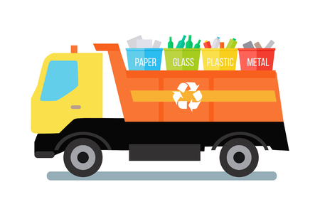 transporting: Garbage truck transporting colored recycle waste bins with paper, glass, plastic, metal. Garbage tipper with trash. Waste recycling concept. Cargo truck. Vector illustration in flat style design. Illustration