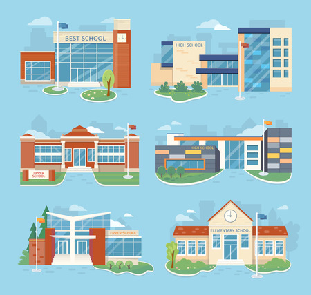 학교 건물의 벡터 일러스트 레이 션의 집합입니다. 플랫 디자인. 건축의 변화. 공공 교육 기관. 교육 기관의 다양한 현대적인 프로젝트. 학교 외관 및 야드 스톡 콘텐츠 - 63729427