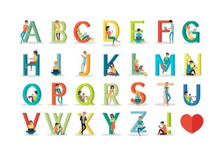 socializando: Inglés alfabeto con los seres humanos que utilizan dispositivos tecnológicos modernos. Red social. Alfabeto con imágenes de dibujos de personas que utilizan modernas tecnologías informáticas para la comunicación. Diseño plano. vector ABC