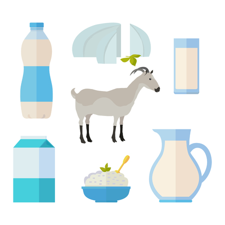 Traditional dairy products from goat s milk. Different dairy products around gray goat on white background. Milk production concept. Dairy icons set. Vector illustration in flat style. Illustration