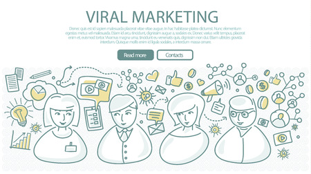 consultant: Viral marketing banner in linear style. Social marketing, consulting center concept. Pay per click, viral video, online technology, service communication, support call, consultant operator. Vector