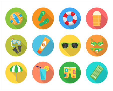 sun cream: Set of summer vector icons. Volleyball, ice cream, sunglasses, shorts, mattress, drink, parasol, swimsuit, sun cream, rescue circle, mask and fins flat illustrations For app buttons infogpaphic Illustration