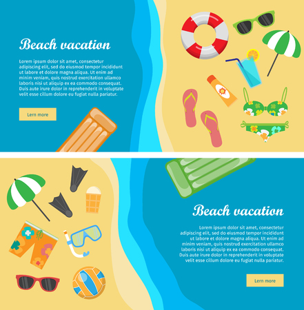 seacoast: Beach vacation conceptual web banners. Flat style vector. Summer leisure on seacoast. Entertainments on sea shore. Horizontal illustration for travel company landing page, corporate site design Illustration