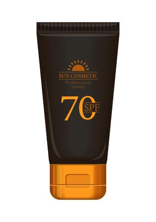 productos naturales: Crema solar serie profesional. defensa solar. cosmética sol. tubo de plástico marrón y oro para la protección solar, SPF 70. Producto para el cuerpo y el cuidado de la piel, la belleza, la salud, la frescura, la juventud. ilustración realista Vectores