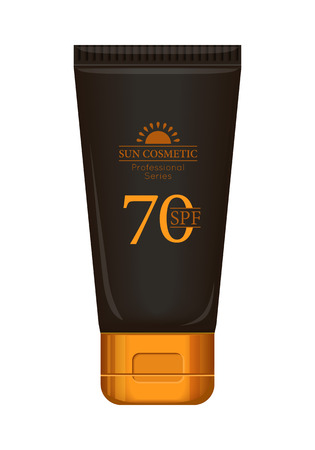 sun block: Sun cream professional series. Solar defence. Sun cosmetic. Brown and gold plastic tube for sun block, 70 SPF. Product for body and skin care, beauty, health, freshness, youth. Realistic illustration Illustration