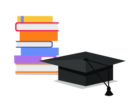 constantly: Stack of books and square academic cap. Professional growth. Necessary to get knowledge constantly. Lifelong constant learning. Business education. Getting knowledge without rest. Vector illustration