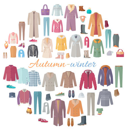 outerwear: Set of autumn-winter clothes. Vector in flat design. Big collection of various wear and shoes for cold season. Fashion trends. Popular models outerwear. For store, boutique, brand ad. On white