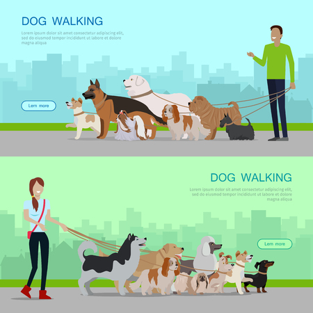 young group: Professional dog walking banners set. Young man and woman walking with group of different breeds dogs on urban background. Dog service. Vector illustration in flat. Cartoon dog character, pet animal