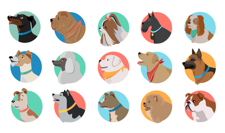 Set of dog round icons. Dog breed set. Different type of dogs. Icon collection for dog club, pet clinic and pet shop. Dog avatar. Isolated vector illustration on white background. Illustration