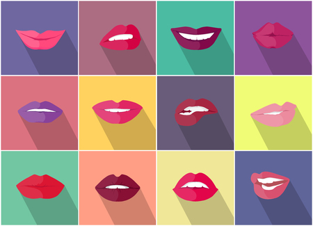 in amazement: Set of lips with expression of emotions. Funny emoticons expressing anger, happiness, sadness, joy, surprise, wonder, amazement. Different mood states collection isolated on white. Vector Illustration