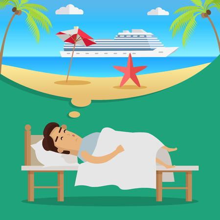 Young man in bed sleeping and dreaming about holidays and cruise tour. Summer beach vacation concept. Big cruise ship in sea. Summer travel. Vector illustration in flat design. Illustration