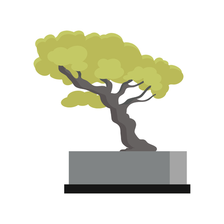 Tree souvenir accessoire. Money Tree icon. Modern office interior element. Memorable present. Table decoration. Currency investment symbol. Earning and trade concept. Tree with green leaves. Vector Illustration