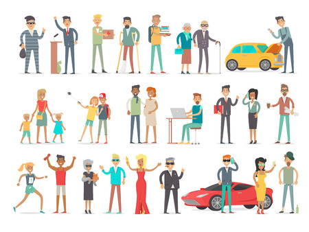 Collection of characters of different social level. People society concept. Rich and poor, successful and unfortunate, young and od, teenagers and aduts. Students and businessmen. Vector in flat style Illusztráció