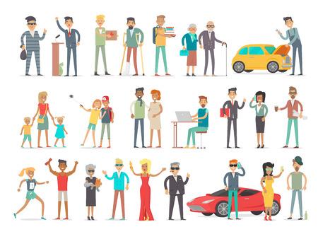 Sammlung von Zeichen verschiedener sozialer Ebene. Menschen Gesellschaft Konzept. Reiche und Arme, erfolgreich und unglücklich, junge und od, Jugendliche und Erwachsene +. Studenten und Geschäftsleute. Vector in flachen Stil
