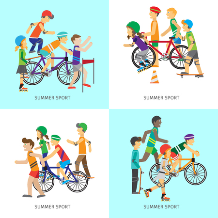 rollerblading: Set of summer sport concepts. Vector in flat style. Women and men in sportswear running, riding bike, skate rollers, skateboard. Victory in sport competition. Moving activity and healthy life.