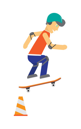 rollerblading: Skater vector. Male character in helmet, elbow, knee protection jumping on skateboard. Sports equipment flat illustration. Summer fun and healthy life. For sport concepts, advertising, web design Illustration