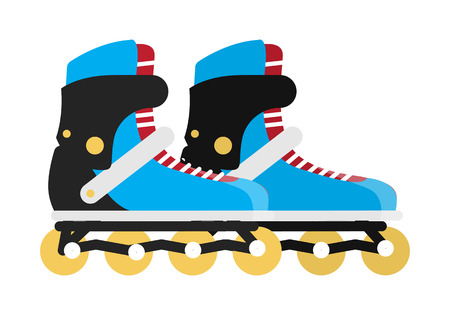 casters: Roller skates isolated on white. Black and blue roller skate boots. Symbol of recreation activity of young people. Sportive hobby in leisure time. Roller skating icon sign. Vector illustration