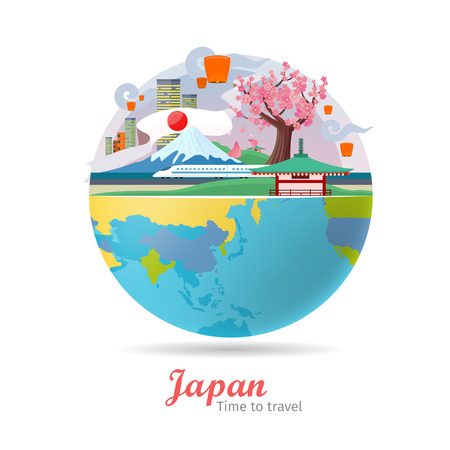 an island tradition: Japan tourism poster design with attractions on the background of the globe. Time to travel. Japan landmark. Japan travel poster design in flat. Travel composition with famous landmarks.