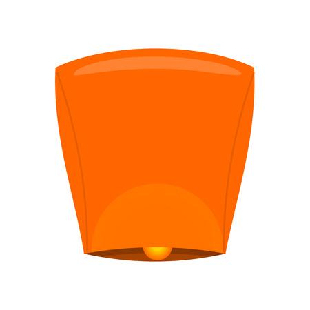 sky lantern: Sky lantern isolated on white background. Orange Kongming lantern or Chinese lantern. Hot air balloon made of paper, with opening at bottom where small fire is suspended. Vector illustration