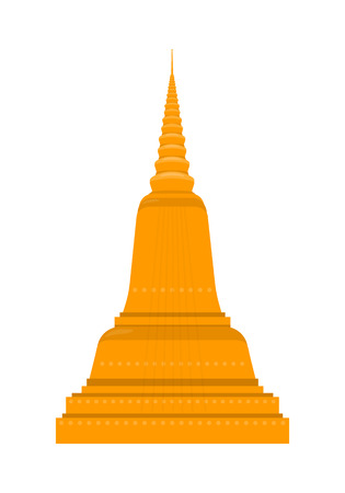thai architecture: Temple in Thailand isolated on white background. Traditional Thai architecture. Main shrine, Phimai. Wat Chedi Liem. Ancient Wat Arun. Part of series of travelling around the world. Vector illustration